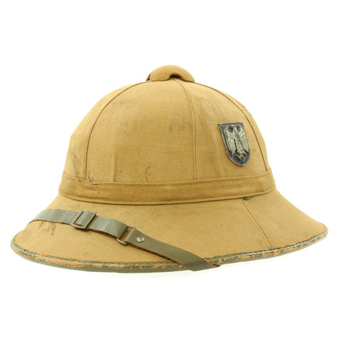 Original German WWII First Model DAK Afrikakorps Sun Helmet with Badges by Clemens Wagner - Size 55