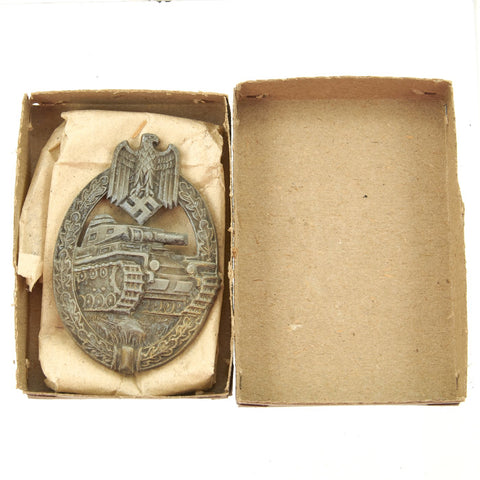 Original German WWII Panzer Assault Tank Badge Bronze Grade by Hermann Aurich in Original Box