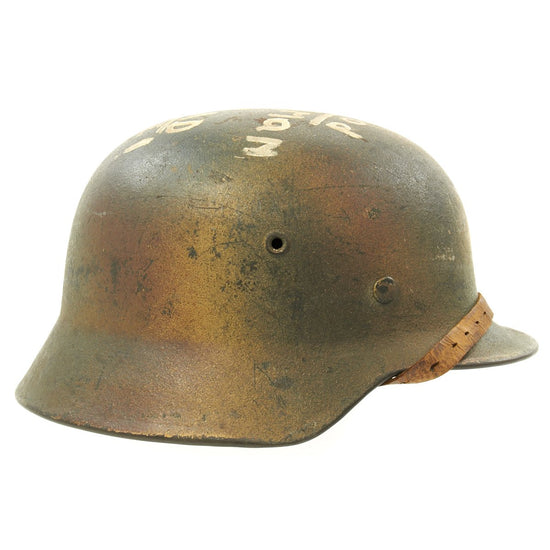 Original German WWII M40 Normandy Camouflage Trench Art Helmet - A Good German is a Dead One!