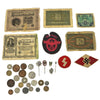 show larger image of product view 1 : Original German WWII Bring Back Collection: Stick Pins, Tinnies, Insignia & Currency Original Items