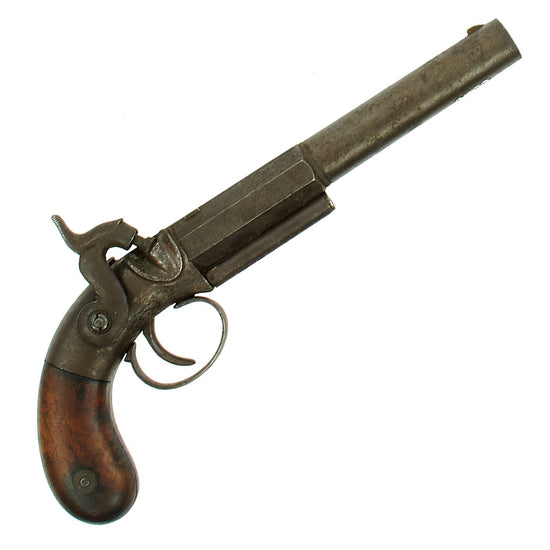 Original U.S. 19th Century E. Allen-Style Rifled Single Shot Percussion Pistol circa 1840