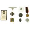 show larger image of product view 1 : Original German WWII USGI Bring Back Grouping: Death Card, Medals, Tinnies & Stamp Original Items