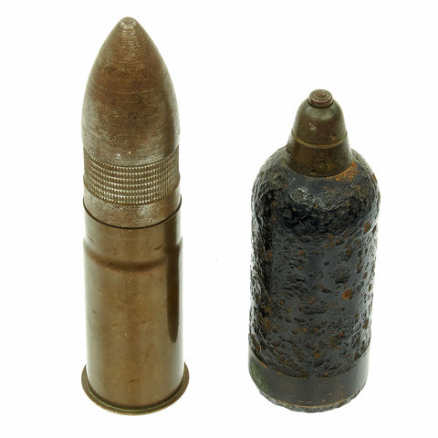 Original Japanese WWII Philippine Invasion Inert Ordnance Set - 1942 dated Mortar Round and 37mm Shell