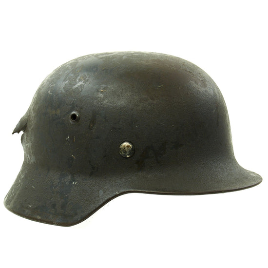 Original German WWII M35 KIA Shot Through Single Decal Luftwaffe Helmet - Marked ET64