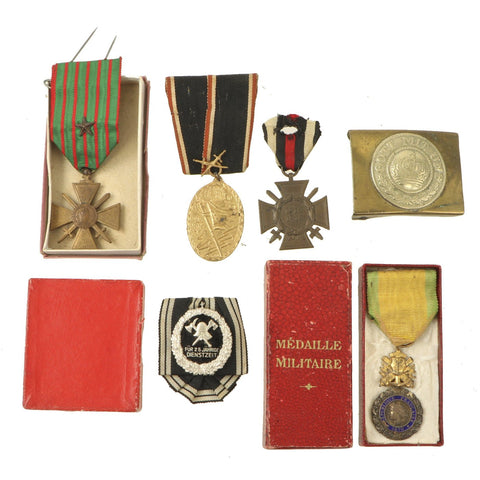 Original WWI Era Medal Grouping with 2 French Awards, 3 German Awards, & German Belt Buckle Original Items