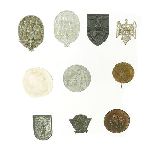 Original German WWII Tinnie Award Pin Collection - Set of 10 Original Items
