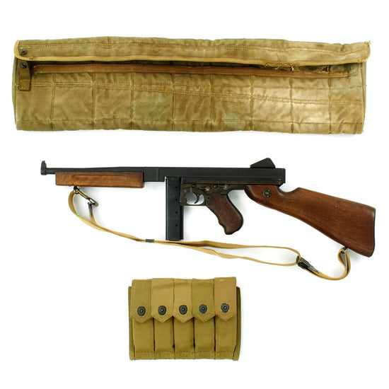 Original U.S. WWII Thompson M1A1 Display SMG with Paratrooper Drop Bag and Accessories