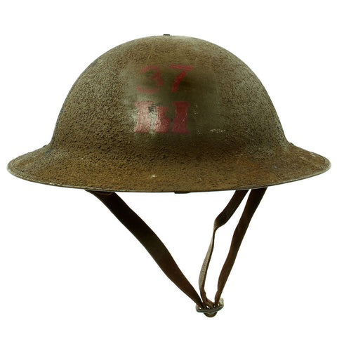 Original U.S. WWI M1917 37th Engineer Battalion Doughboy Helmet With Textured Paint Original Items