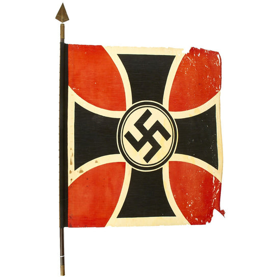 Original German WWII National Socialist State Veteran's Association Flag on Partial Flagpole - NSRKB Original Items