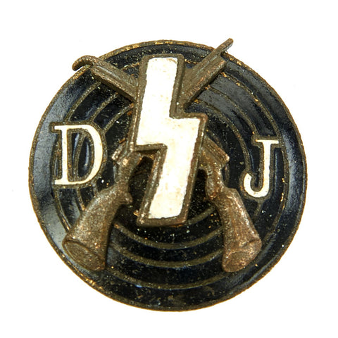 Original German WWII Deutsches Jungvolk DJ Enamel Shooting Award Badge Pin by Petz & Koch - RZM M1/123 Original Items