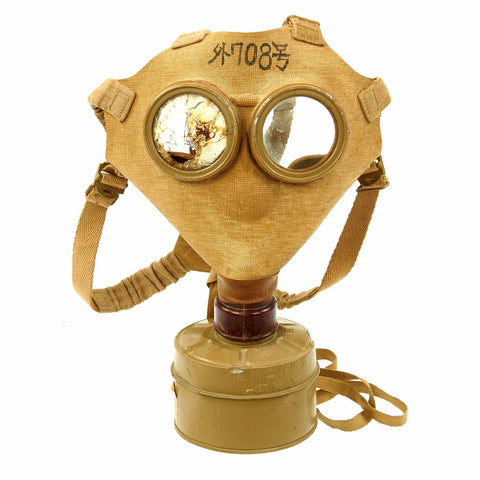 Original Japanese WWII Imperial Army Gas Mask with Filter and Paper Label Original Items