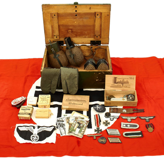 Original German WWII USGI Captured Normandy Camouflage Bring Back Box with Contents Original Items