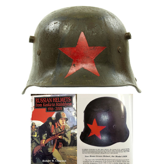 Original German WWI M16 Russian Capture Helmet with Red Star and Camouflage Paint  - Featured in Book