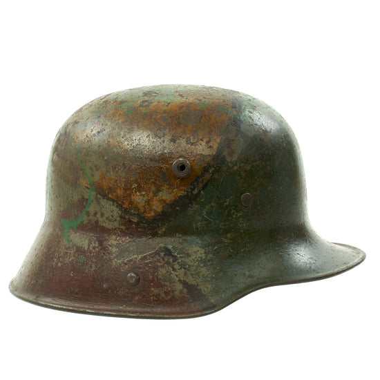 Original German WWI M16 M17 Stahlhelm Helmet with Original Camouflage Paint and Liner