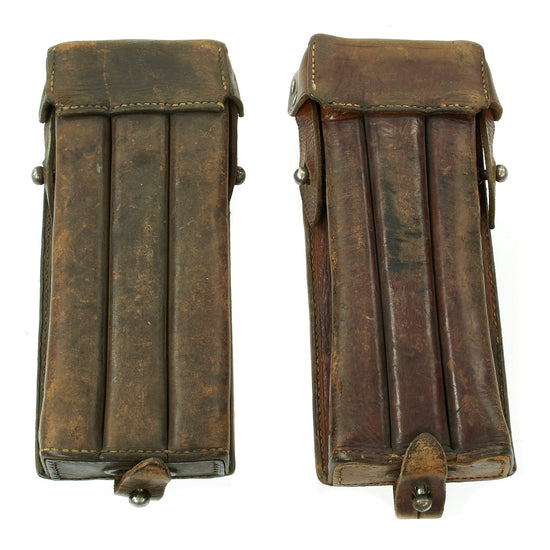 Original German Austrian WWII MP 18 Triple Magazine Double Leather Pouch Set - Dated 1935