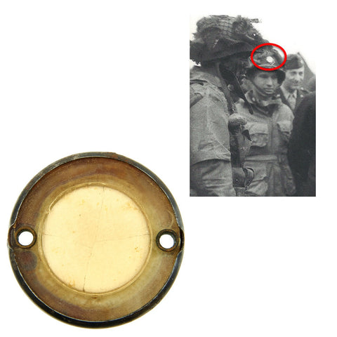 Original U.S. WWII Normandy D-Day Invasion Paratrooper Luminous Disc Helmet Marker Original Items