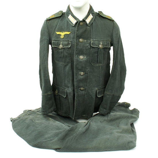 Original German WWII M42 Kriegsgmarine Coastal Artillery Herringbone Twill Boatswain Uniform