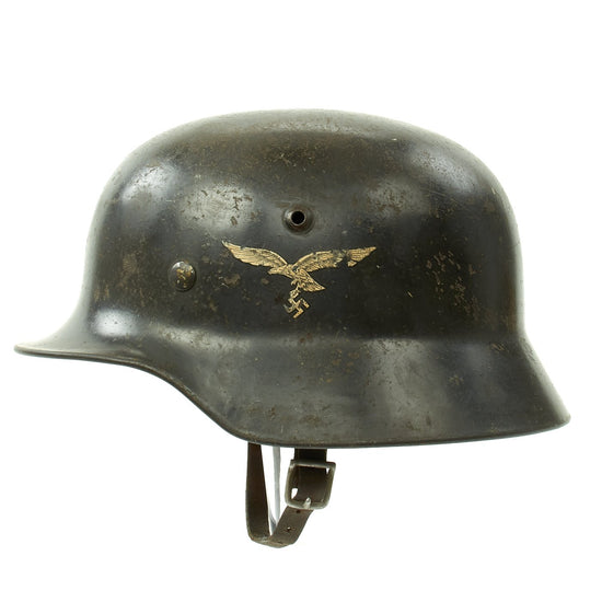 Original German WWII Luftwaffe M35 Double Decal Helmet with size 59 Liner - marked Q66