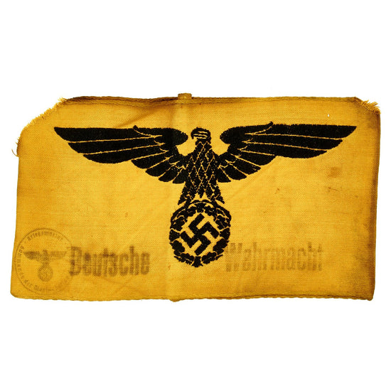 Original German WWII State Service Army Volunteer Armband with Depot Stamp - Deutsche Wehrmacht