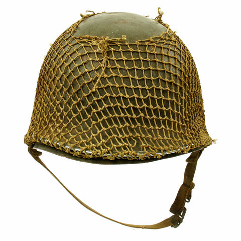 Original U.S. WWII 1942 M1 McCord Front Seam Fixed Bale Helmet with Rare Inland Liner and Helmet Net Original Items