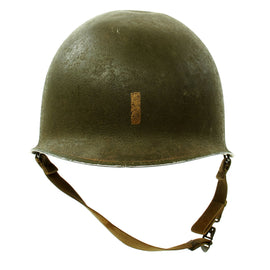Original U.S. WWII 1942 2nd Lt. Marked M1 McCord Front Seam Fixed Bale Helmet with MSA Liner