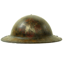 Original WWI U.S. Marine Corps 1st Battalion 6th Marines M1917 Doughboy Helmet - 2nd Division