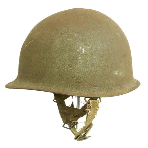 Original U.S. WWII 1944 M1 McCord Swivel Bale Front Seam Helmet with Converted Paratrooper Liner Original Items