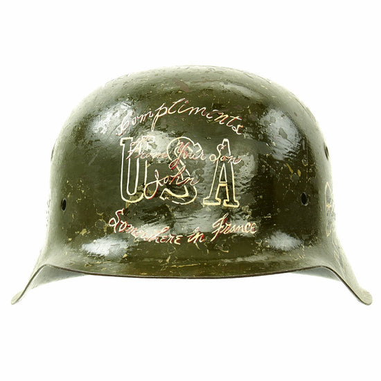 Original German WWII USGI Bring Back Trench Art Trophy M42 Helmet dated August 23 1944 Original Items