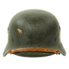 show larger image of product view 3 : Original German WWII Double Decal NSDAP Civic Police M40 Steel Combat Helmet - marked Q64 Original Items