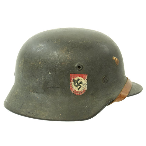Original German WWII Double Decal NSDAP Civic Police M40 Steel Combat Helmet - marked Q64 Original Items