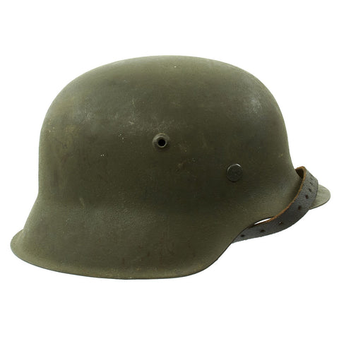 Original German WWII M42 Unissued Helmet with Dome Stamp and 56cm Liner - hkp64 Original Items