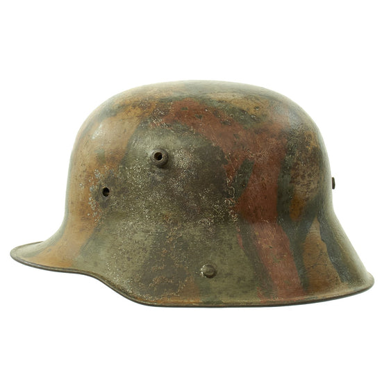 Original Imperial German WWI M16 Stahlhelm Helmet with Panel Camouflage Paint and Liner - marked W66