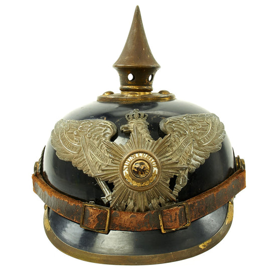 Original Imperial German WWI Prussian Garde Corps Steel Pickelhaube Helmet with Chin Strap - Metalhelm