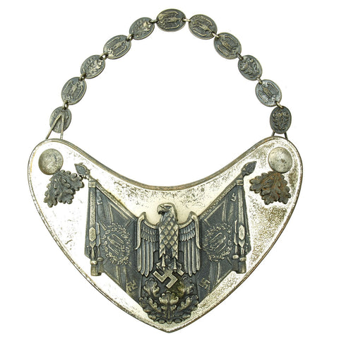 Original Extremely Rare German WWII Army Heer Standard Bearer Gorget with Partial Chain by C.E. Juncker Berlin