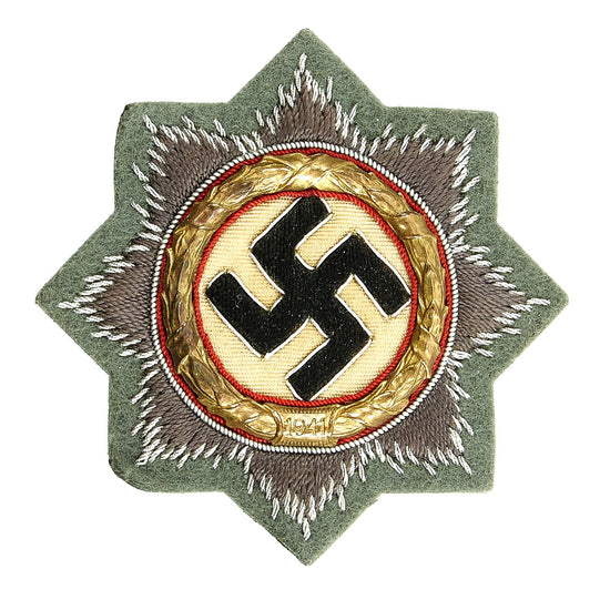 Original German WWII Heer Gold 1941 German Cross Award Embroidered Cloth Badge - Unissued