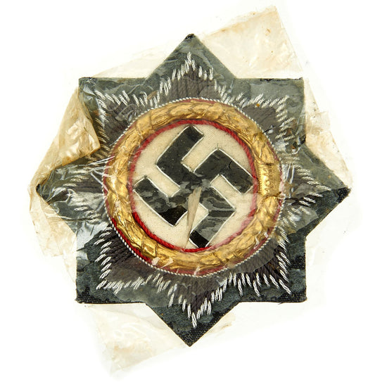 Original German WWII Luftwaffe Gold 1941 German Cross Award Embroidered Cloth Badge in Cellophane