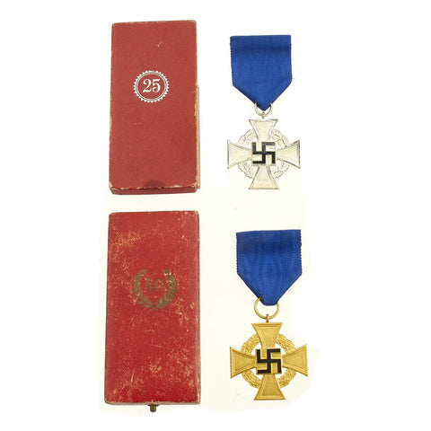 Original German WWII Set of 1st & 2nd Class Cased Civil Service Faithful Service Medals - 25 & 40 Years Original Items