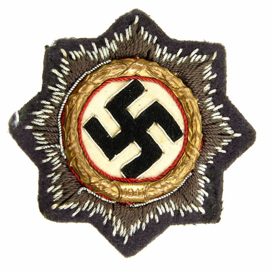Original German WWII Luftwaffe Gold 1941 German Cross Award Embroidered Cloth Badge in Blue