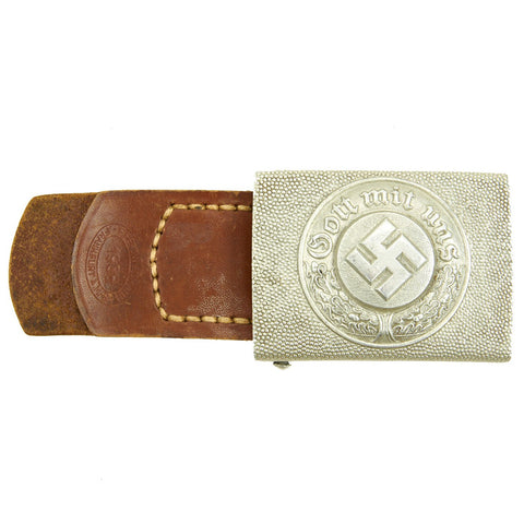 Original German WWII Pebbled Aluminum Police EM/NCO Belt Buckle by E. Ferd. Wiedmann - Dated 1938 Original Items