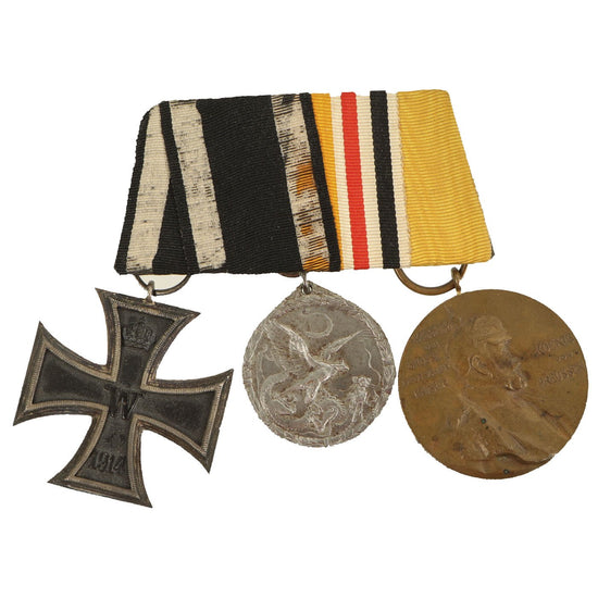 Original Imperial German WWI Era Medal Bar with EKII, China Commemorative Coin & Wilhelm Centenary Medal Original Items