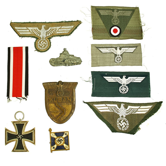 Original German WWII Heer Army Officer Insignia & Medal Grouping with Iron Cross 2nd Class & Kuban Shield Original Items