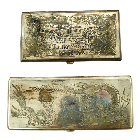 Original U.S. WWII China Marine Silver Cigarette Case TSINGTAO, CHINA - Set of 2 Original Items