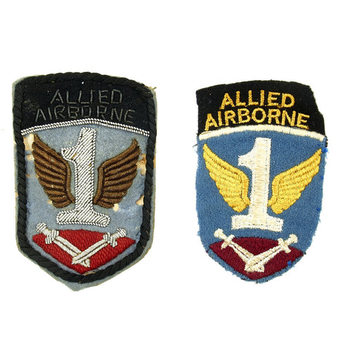 Original U.S. WWII British Made 1st Allied Airborne Patch Pair - Bullion and Cloth Original Items