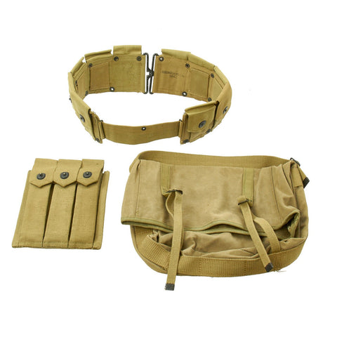 Original U.S. WWII USMC Field Gear Set: M1923 Garand Belt, M1941 Lower Bag & Thompson Mag Pouch Original Items