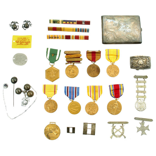 Original U.S. WWII Named 4th Marine Regiment China Marines Medal and Souvenir Grouping Original Items