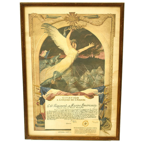 Original U.S. WWI Named 6th Marine Regiment Croix De Guerre Award Document with Authorization Card Original Items