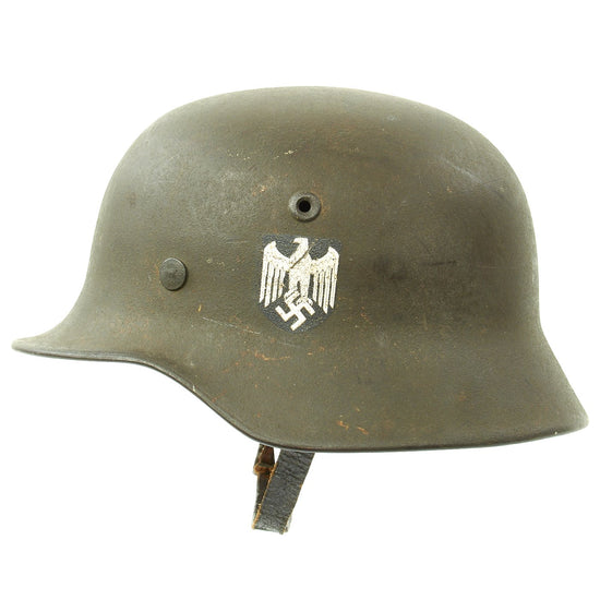 Original German WWII Army Heer M40 Single Decal Steel Helmet with Textured Paint and Size 55 Liner - NS62