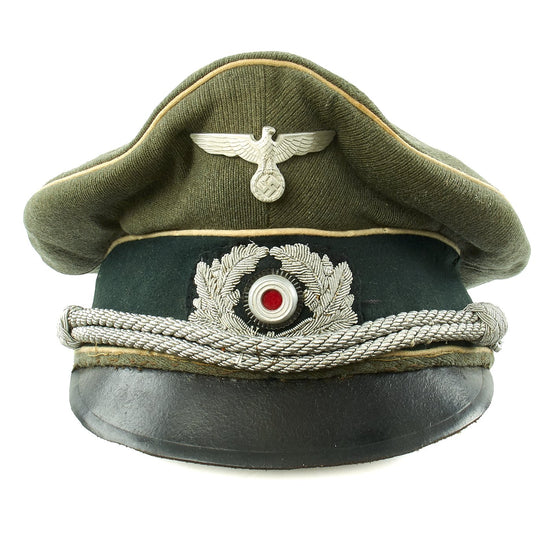 Original German WWII Army Heer Infantry Officer Visor Crush Cap - Size 58 1/2