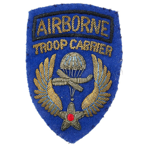 Original U.S. WWII British Made Airborne Troop Carrier Bullion Embroidered Patch Original Items