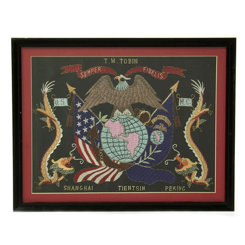 Original U.S. China Marine Named Framed Silk Embroidered Remembrance Scroll - Tobin Original Items